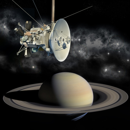 spacecraft: Unmanned spacecraft similar with the Cassini Huygens orbiter, passing Saturn.