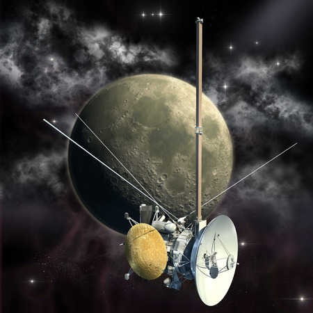spacecraft: Unmanned spacecraft similar with the Cassini orbiter passing the Moon. Stock Photo