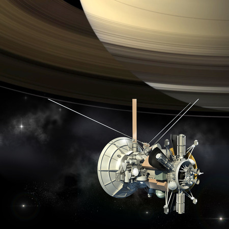 satellite in space: Unmanned spacecraft similar with the Cassini Huygens orbiter, passing Saturn.