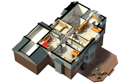 second floor: 3D rendering of a furnished residential house, with the second floor, showing the staircase, bedrooms, bathrooms and walk-in closets and storage. Stock Photo