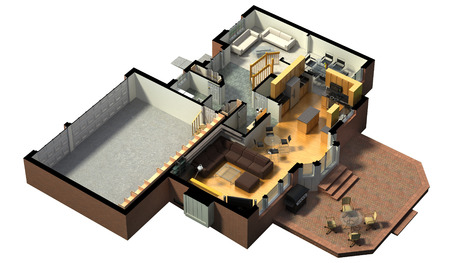 3D rendering of a furnished residential house, with the first floor plan, showing the living room, dining room, foyer, terrace and garage. Foto de archivo