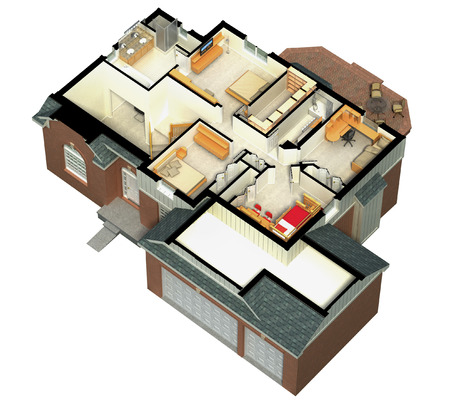 3D rendering of a furnished residential house, with the second floor, showing the staircase, bedrooms, bathrooms and walk-in closets and storage. Banco de Imagens