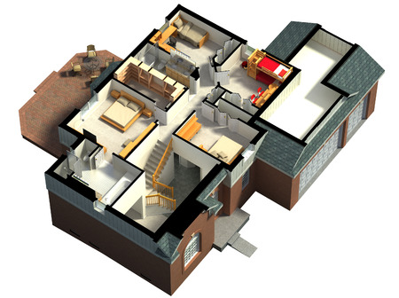 project property: 3D rendering of a furnished residential house, with the second floor, showing the staircase, bedrooms, bathrooms and walk-in closets and storage. Stock Photo