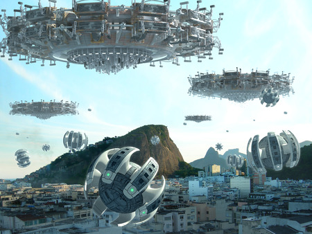 A fleet of unidentified flying objects, above buildings in Rio de Janeiro, Brazil, for futuristic, fantasy or interstellar travel or war-game backgrounds.