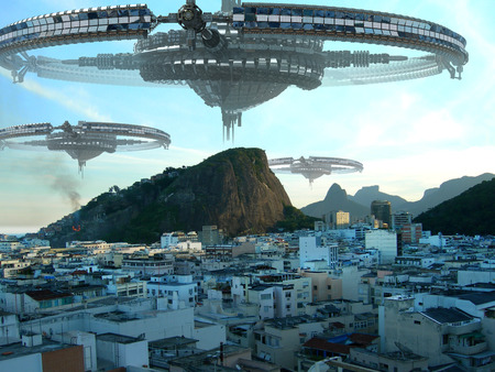 A fleet of unidentified flying objects, above buildings in Rio de Janeiro, Brazil, for futuristic, fantasy or interstellar travel or war-game backgrounds. Фото со стока - 44030587