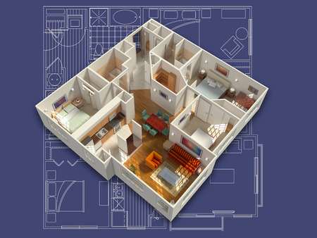 residential house: 3D isometric rendering of a furnished residential house, on a blueprint, showing the living room, dining room, foyer, bedrooms, bathrooms, closets and storage.