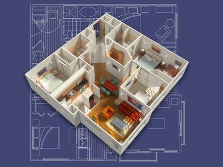 Representación 3D isométrica de una casa residencial amueblado, en un modelo, mostrando la sala de estar, comedor, recibidor, dormitorios, baños, armarios y almacenamiento. Foto de archivo - 45234932