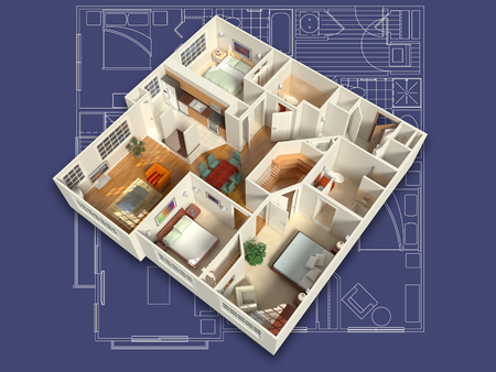 3D House Interior on a Blueprint