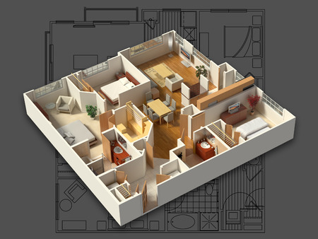 3D isometric rendering of a furnished residential house, showing the living room, dining room, foyer, bedrooms, bathrooms, closets and storage. Stock Photo