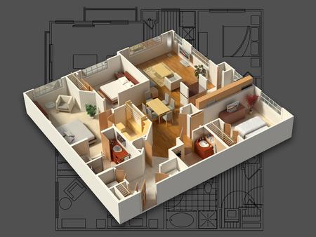 3D isometrische weergave van een gemeubileerd woonhuis, met de woonkamer, eetkamer, foyer, slaapkamers, badkamers, kasten en opslag.