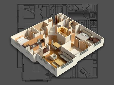 planen: 3D möbliertes Haus Interior Lizenzfreie Bilder