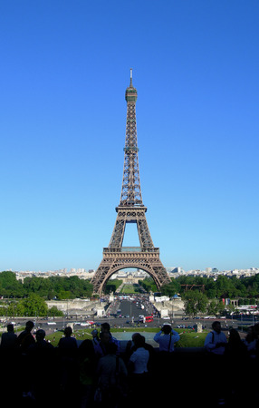 paris france: Landmark image of Eiffel Tower in Paris, France Stock Photo