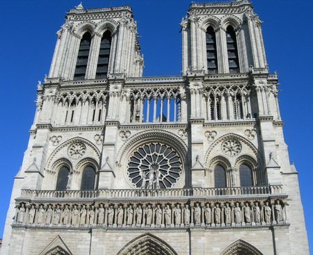 notre dame cathedral: Architectural details of the Notre Dame Cathedral in Paris, France