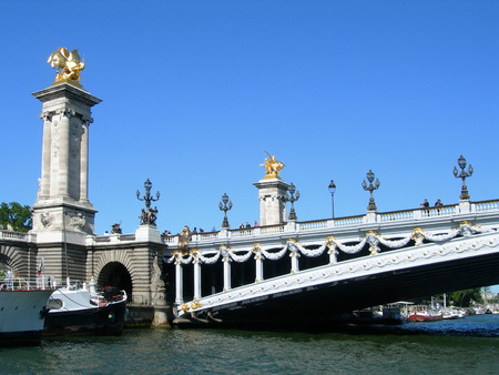 alexandre: Details of Pont Alexandre III over Seine in Paris, France