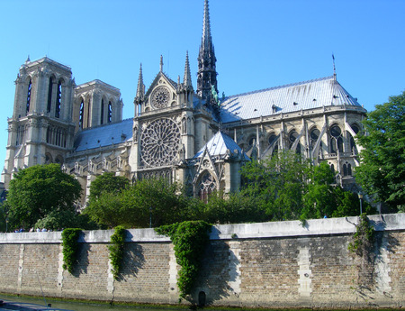 Notre Dame Cathedral view from the river Seine in Paris, France
