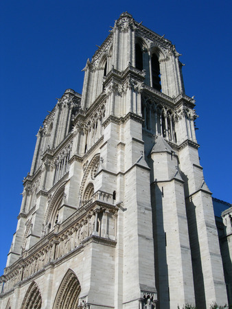 Architectural details of the Notre Dame Cathedral in Paris, France