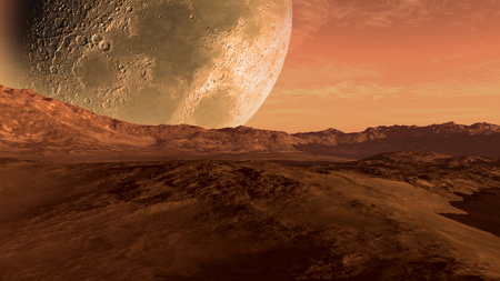 Mars like red planet with arid landscape, rocky hills and mountains, and a giant moon at the horizon, for space exploration and science fiction backgrounds.