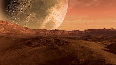 Marte come pianeta rosso con paesaggio arido, colline rocciose e le montagne, e una luna gigante all'orizzonte, per lo spazio di esplorazione e fantascienza sfondi. Archivio Fotografico - 49769941