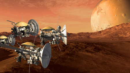 Unmanned spacecraft probes scouting a Mars like red planet, for space exploration and science fiction backgrounds. Stock Photo
