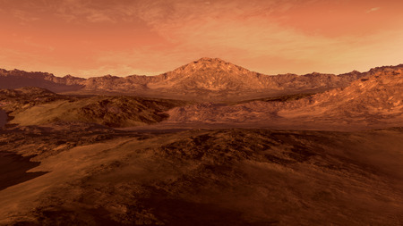 Mars like red planet, with arid landscape, rocky hills and mountains, for space exploration and science fiction backgrounds. Stock Photo