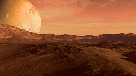 Red planet with arid landscape, rocky hills and mountains, and a giant Mars-like moon at the horizon, for space exploration and science fiction backgrounds. Stock Photo