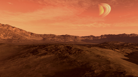 inhospitable: Red planet with arid landscape, rocky hills and mountains, and a Saturn-like moon, for space exploration and science fiction backgrounds Stock Photo