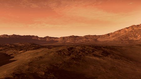 Mars like red planet, with arid landscape, rocky hills and mountains, for space exploration and science fiction backgrounds Foto de archivo