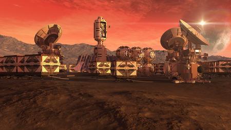 火星に植民地のクレート ポッド、衛星放送の料理と挨りだらけの空に月と火星のような惑星と宇宙探査の背景