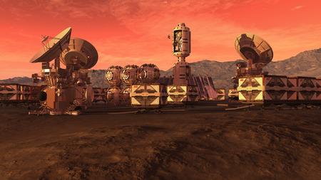 球状 pod、箱コンテナーとパラボラ アンテナ惑星探査の背景に赤い惑星のような火星の集落