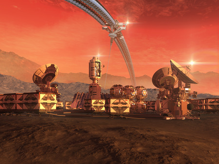 inhospitable: Mars like red planet with a sky structure, research modules, observation pods and communication satellite dishes for science fiction backgrounds