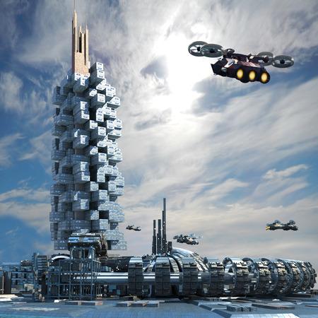 Futuristische stad architectuur met wolkenkrabber, ringstructuur en stofzuigen vliegtuigen voor futuristisch, science fiction en fantasy achtergronden