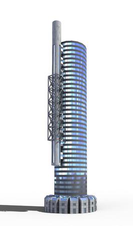 サイエンス ・ フィクションやファンタジーの背景、jpg ファイルに含まれている分離作業用パスとオフィスビルの未来都市建築 写真素材 - 50643244