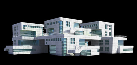 modern apartment: Futuristic architecture of modern apartment building or house with the isolation work path included in the jpg file