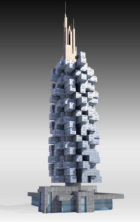 architecture model: Futuristic city architecture of high rise apartment building with the isolation work path included in the jpg file, for science fiction or fantasy backgrounds