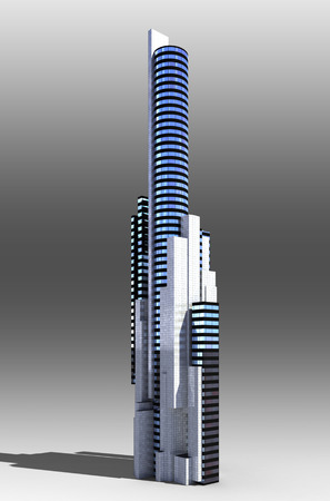 Futuristic city architecture of office building with the isolation work path included in the jpg file, for science fiction or fantasy backgrounds