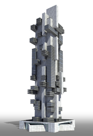 futuristic city: Futuristic city architecture of high rise with the isolation work path included in the jpg file, for science fiction or fantasy backgrounds