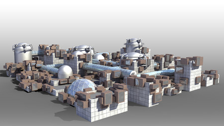 Science fiction city with glass domes, tubes and metallic structures for futuristic or fantasy backgrounds