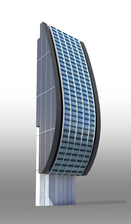 Futuristic city architecture of high rise with the isolation work path included in the jpg file, for science fiction or fantasy backgrounds