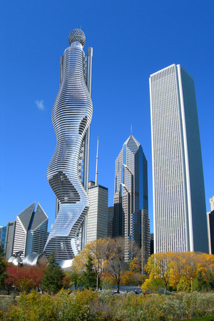 futuristic city: Collage with futuristic 3D skyscraper inserted in the downtown Chicago architecture.