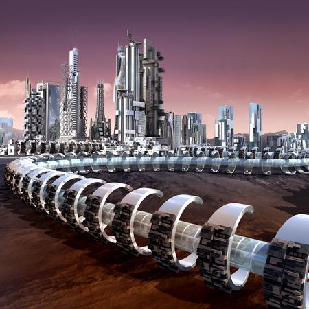 Futuristische stad architectuur met wolkenkrabbers en buisvormige ringstructuur op een vreemde rode planeet, voor futuristische of fantasie achtergronden