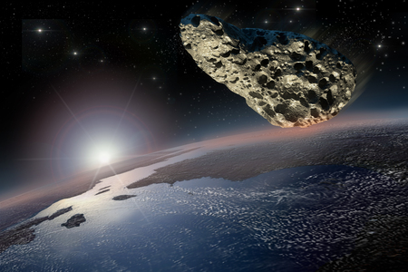 earth from space: Asteroid on a collision course with Earth.