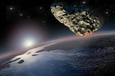 Asteroide en curso de colisión con la Tierra. Foto de archivo