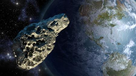 meteorite: Meteorite close to Earth Stock Photo