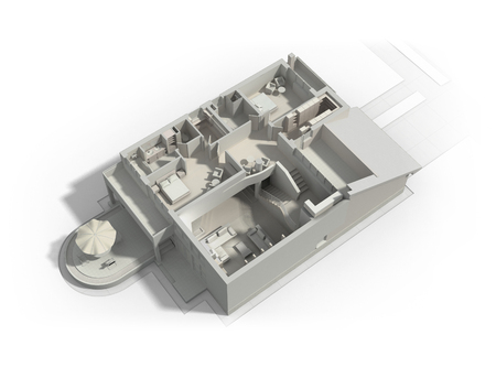Black and white 3D rendering of a furnished residential house, with the second floor, showing the staircase, bedrooms, bathrooms and walk-in closets and storage.