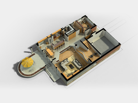 3D rendering of a furnished residential house, with the first floor plan, showing the living room, dining room, foyer, terrace and garage. Stockfoto