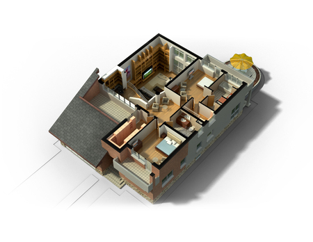 3D rendering of a furnished residential house, with the second floor, showing the staircase, bedrooms, bathrooms and walk-in closets and storage. Archivio Fotografico