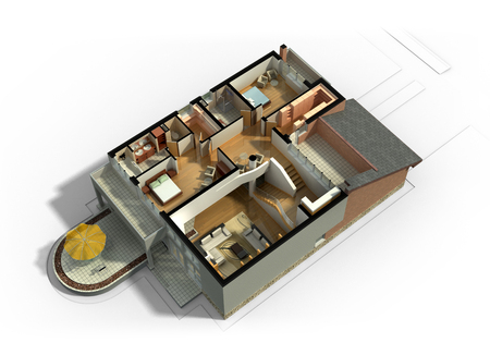 3D rendering of a furnished residential house, with the second floor, showing the staircase, bedrooms, bathrooms and walk-in closets and storage. Zdjęcie Seryjne