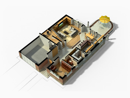 first floor: 3D rendering of a furnished residential house, with the first floor plan, showing the living room, dining room, foyer, terrace and garage. Stock Photo