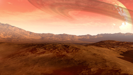 inhospitable: A Mars-like red planet with an arid landscape, rocky hills and mountains, and a giant moon at the horizon with Saturn-like rings, for space exploration and science fiction backgrounds.