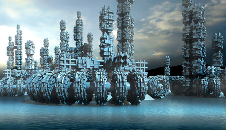 Fantasy transports and architecture on a frozen blue planet with block structures on wheels, pods and crates for planetary exploration or science fiction backgrounds